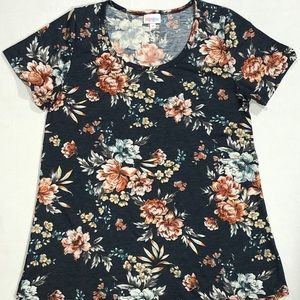 New Lularoe Classic T Navy Peach Rose Sz M Shirt